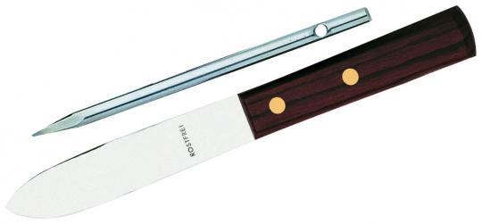 Herbertz Matrosen-Messer, mit Marlspieker, Leadwood-Griffschalen, braune Lederscheide