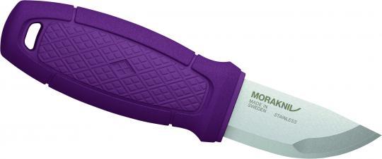 Morakniv ELDRIS NECK KNIFE, Sandvik-Stahl 12C27, rostfrei, violetter Kunststoffgriff, Köcherscheide, Feuerstarter