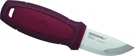 Morakniv ELDRIS NECK KNIFE, Sandvik-Stahl 12C27, rostfrei, roter Kunststoffgriff, Köcherscheide, Feuerstarter, Kordel