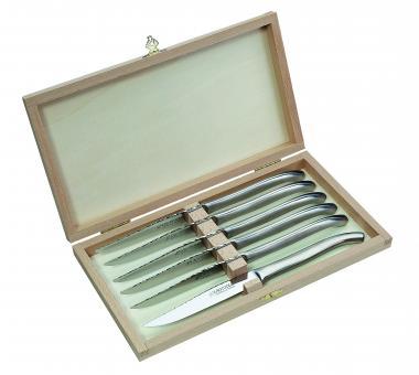 Laguiole Steakmesser-Satz, Ganzmetall, Holzbox mit 6 Messern