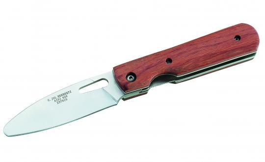 Herbertz Kindermesser, Stahl AISI 420, abgerundete Spitze, Liner Lock, Cocobolo-Holzgriffschalen,