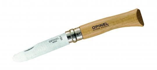 Opinel No 07, Kindermesser, rostfrei, abgerundete Spitze, Virobloc Sicherungsring, Buchenholzgriff natur