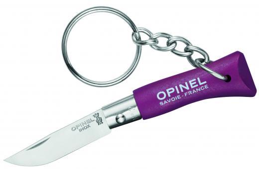 Opinel Messer No 02, violett, rostfrei, mit Schlüsselanhäng.,