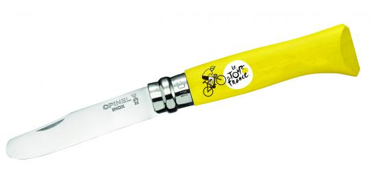 Opinel Kindermesser Tour de France, Sandvik-Stahl 12C27, abgerundete Spitze, Virobloc, gelber Buchenholzgriff