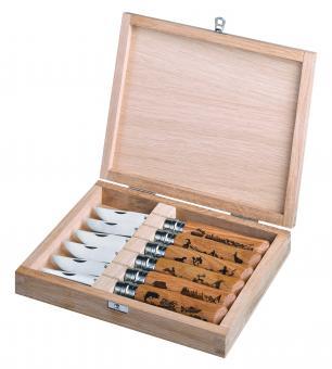 Opinel Messer No 08, ANIMALIA-Kollektion, Holzbox, Set mit 6 Messern, Sandvikstahl 12C27M, rostfrei, Eichenholz