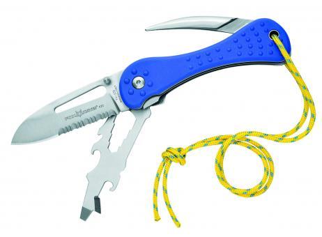 Fox Seglermesser, rostfreier Stahl 420, Liner Lock, Marlspieker, Universalwerkzeug, blaue FRN-Schalen, Öse