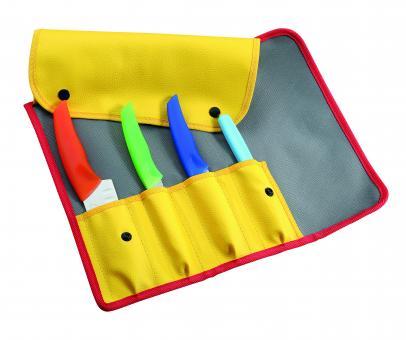 ICEL Kinder-Kochmesser-Set, 4-teilig, Santoku, Sparschäler, Allzweckmesser, Gemüsemesser mit Sägezahnung, gelbes Etui