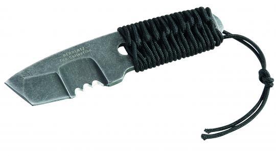 HERBERTZ Top-Collection Neck-Knife, AISI 440-Stahl, Tanto-Klinge, Paracord-Griffwicklung, Kunststoffscheide, Box