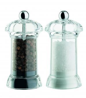 David Mason Design Salz- und Pfeffermühlen-Set, Mini Galaxy, aus transp. Acryl, Polyacetal-Mahlwerk, gefüllt