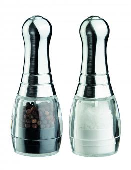 David Mason Design Salz- und Pfeffermühlen-Set, Mini Skittle, Acryl, Oberteil verchromt, Polyacetal-Mahlwerk, ungefüllt