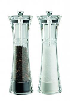 David Mason Design Salz- und Pfeffermühlen-Set, Delta, aus transparentem Acryl, Polyacetal-Mahlwerk, gefüllt
