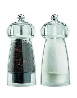 David Mason Design Salz- und Pfeffermühlen-Set, Astra, aus transparentem Acryl, Polyacetal-Mahlwerk, gefüllt