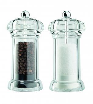 David Mason Design Salz- und Pfeffermühlen-Set, Galaxy, aus transparentem Acryl, Polyacetal-Mahlwerk, gefüllt