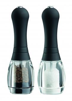 David Mason Design Salz- und Pfeffermühlen-Set, Skittle, Acryl, schwarzes Oberteil, Polyacetal-Mahlwerk, gefüllt