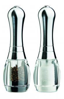 David Mason Design Salz- und Pfeffermühlen-Set, Skittle, Acryl, verchromtes Oberteil, Polyacetal-Mahlwerk, gefüllt
