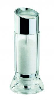 David Mason Design Salzmühle, Upside, transparentes Acryl, verchromtes Oberteil, Polyacetal-Mahlwerk, gefüllt