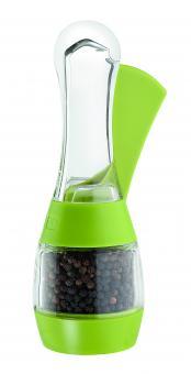 David Mason Design Pfeffermühle, Triga, transparentes Acryl, grüne Gehäuse-Teile, Keramik-Mahlwerk, gefüllt