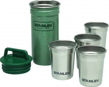 Stanley Shot Glass Becher-Set, 4x59ml, 18/8 Edelstahl, Hammerschlag grün, Transportbehälter