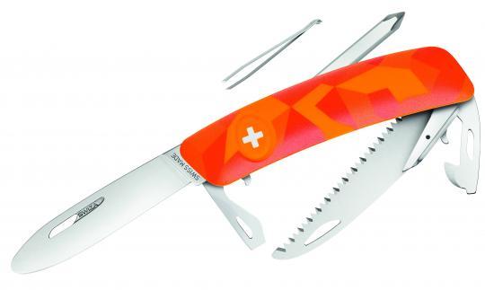 SWIZA Kinder-Taschenmesser J06 JUNIOR, Stahl 440, abgerundet, Sperre, orangefarbene Anti-Rutsch-Schalen, Säge, Werkzeuge