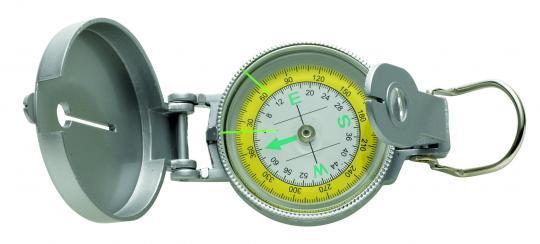 Kompass, Metallgehäuse, silberfarbig,