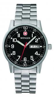 Wenger Uhr Commando Day Date XL, Edelstahl-Armband, WEEE-Reg.-Nr. DE67518601