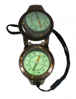 Herbertz Kompass, 360 Grad Einteilung, flüssigkeitsgedämpft, Spiegel, transparenter Boden, Messinggehäuse, Kordel