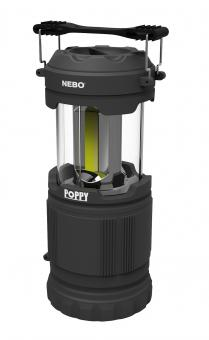 NEBO LED Laterne POPPY, 300 Lumen Laterne, 120 Lumen Lampe, 120 Meter Leuchtweite, Kunststoffgehäuse, 3 Batterien AAA