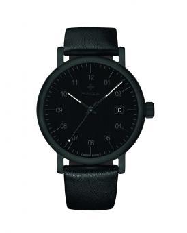 SWIZA Armbanduhr ALZA BLACK, Schweizer Quarzwerk Ronda 515, 316L Stahl, PVD-beschichtet, Mineralglas, Kalbslederband